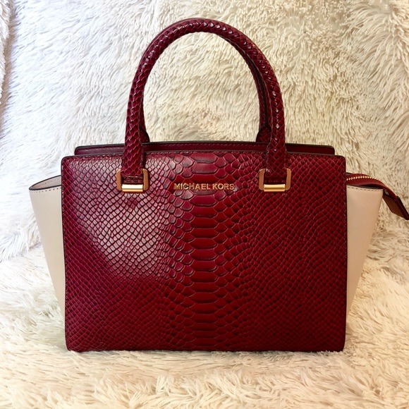 07735f01bf37e Medium Selma Snake-embossed-leather Satchel
